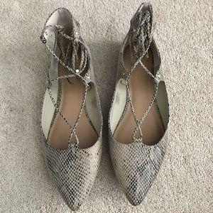 Snack skin pointed flats with ankle tie